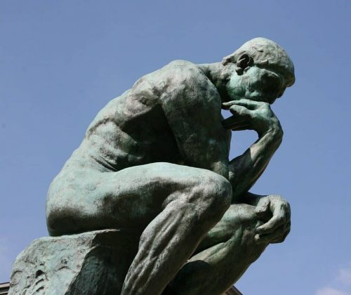I thought you might enjoy the thinker to symbolise the thought process in engage a picture hanger.